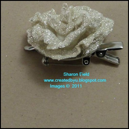 Silver_Glimmer_Paper, Rose, Flower, Clip, Pin, Tutorial, Bonus, Heat Tool, Crystal Effects, Blog Candy, 12_weeks_of_Christmas, Newsletter, createdbyu_Blogspot, Sharon_Field, WOW, technique