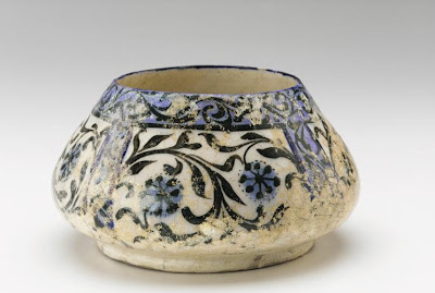 Bowl | Origin:  Iran | Period: 1200-1300 | Details:  Not Available | Type: Ceramic; modeled, glazed, and fired | Size: H: 11.2  W: 20.7  cm | Museum Code: S1987.87 | Photograph and description taken from Freer and the Sackler (Smithsonian) Museums.