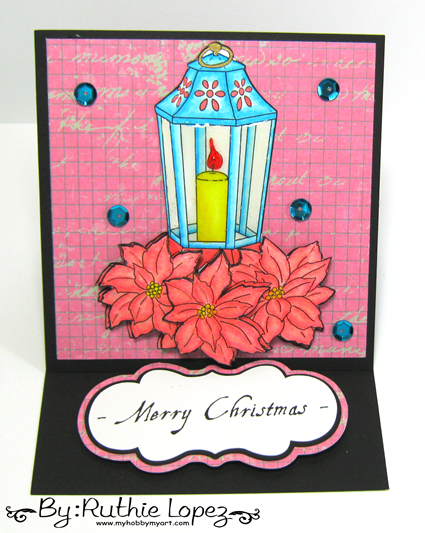 Fred she Said Designs. Christmas Poinsettia Lantern Set. Easel Card. Ruthie Lopez. My Hobby My Art. 2