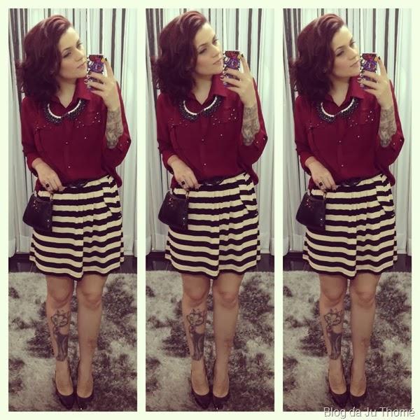 look saia listrada e camisa burgundy