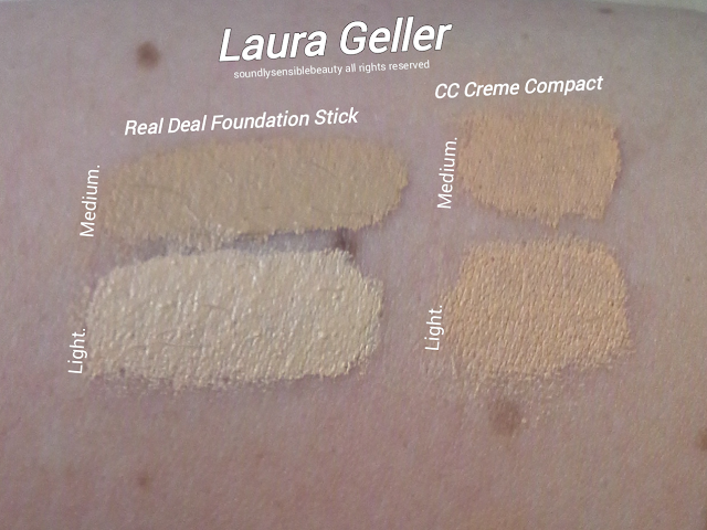 Laura Geller Real Deal Foundation Stick Swatches of Shades Light & Medium, Tan, & Review, Laura Geller CC Creme Color Correct Compact Swatches of Shades Light & Medium