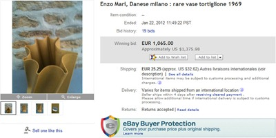 Enzo Mari Tortiglione vase eBay auction end screenshot