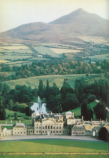 This serene image of the Powerscourt estate with the Sugarloaf mountains says it all.