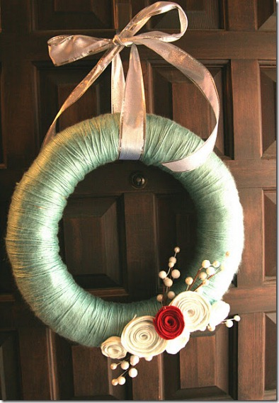 Winter wreath--yarn wrapped wreath with rolled felt flowers