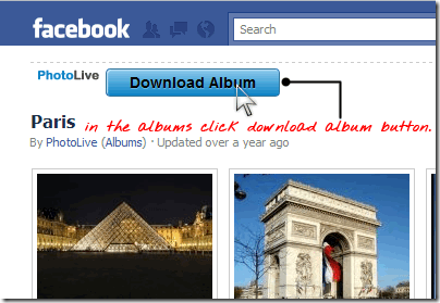 Download Facebook Albums with PhotoLive Chrome Extension