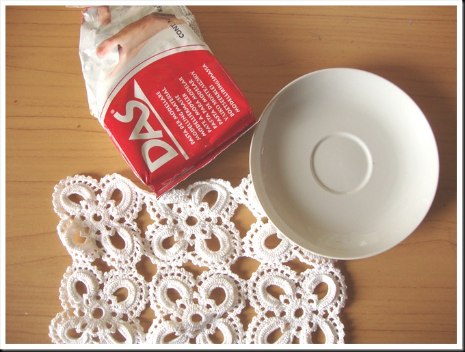 diy clay lace plate supplies