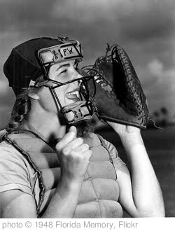 'Dottie Schroeder, catcher, shouting play ball behind mask' photo (c) 1948, Florida Memory - license: http://www.flickr.com/commons/usage/