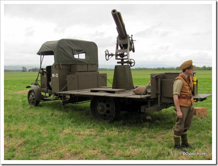 Anti aircraft gun on a genuine chassis. The rest including the gun are fake.