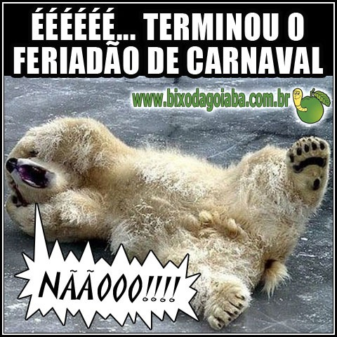 É terminou o feriadão de carnaval!!! Nããooo!!!!