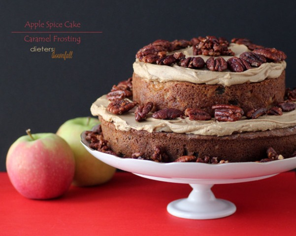 Apple Spice Cake with Caramel Frosting @ Dieters Downfall