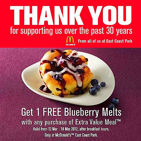 McDonalds East Coast Park Closing Offer, Free Blueberry Melts with Extra Value Meal purchase