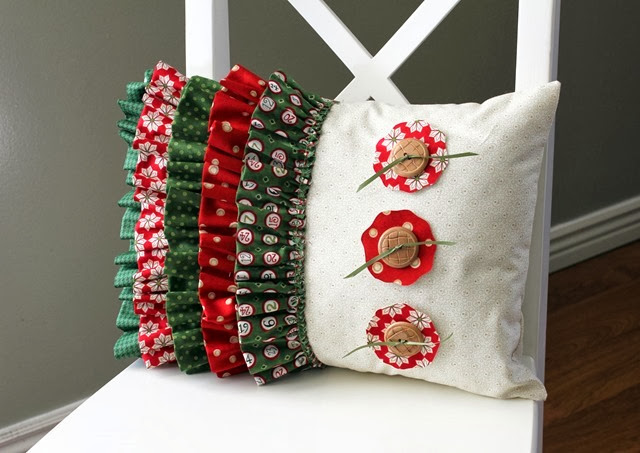 Cute ruffled Christmas Pillow