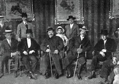 1914-04-21 (p. 3-V LUI) Joselito Rafael y Romanones en la caseta Gallinero