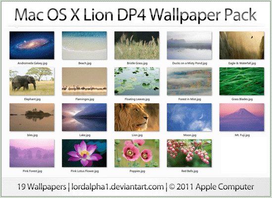 Mac OS X Lion Wallpaper Pack for Windows
