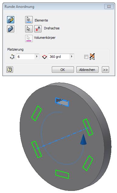 Autodesk Inventor FAQ: Runde Anordnung ohne das die Elemente dabei ...