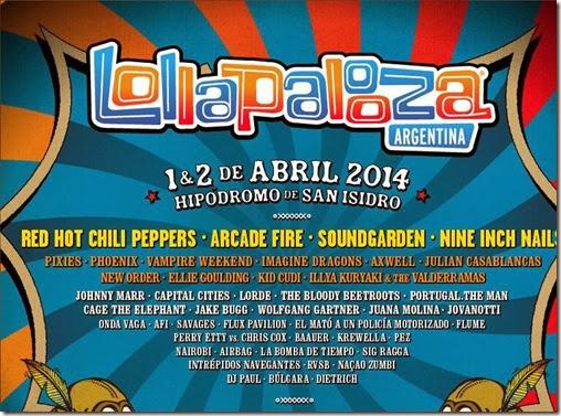 cartelera completa de lollapalooza en argentina abril de 2014 venta de entradas para dos dias