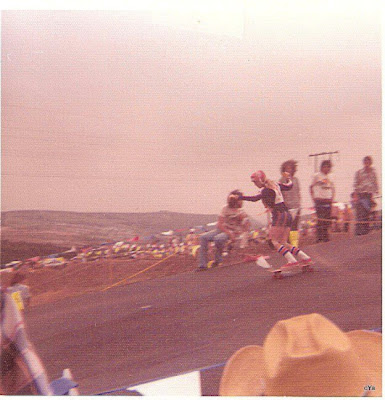 The women's down hill event in the 1976 Hang Ten National Championships in Carlsbad.