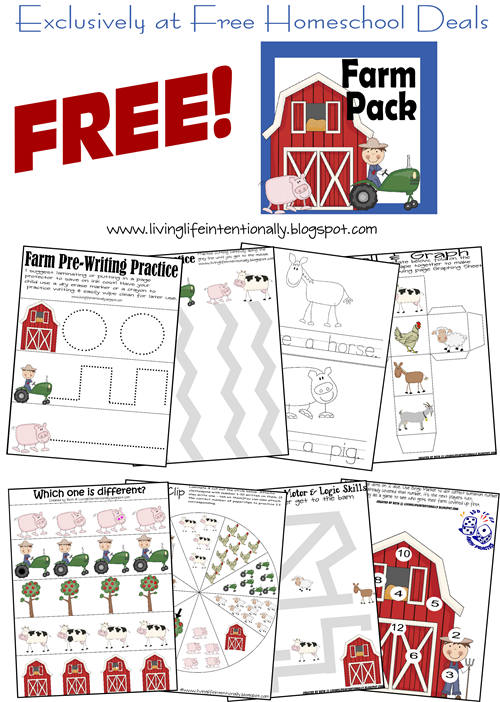 Printables Free Homeschool Printable Worksheets free instant download farm printable pack 20 pages preschool worksheets