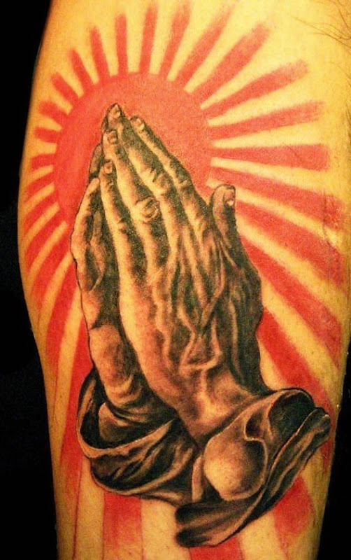 3d praying hands tattoo
