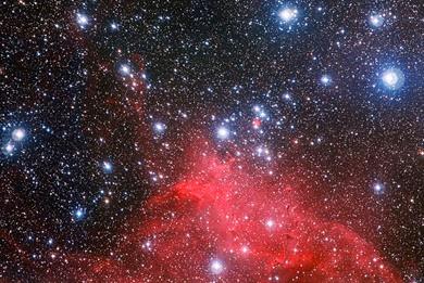 enxame estelar NGC 3572 e o seu meio circundante