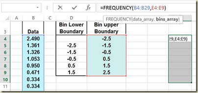 Variation in Excel - Frequency
