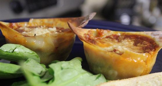 vegetarian muffin tin lasagna cups
