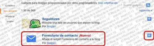 Formulario de contacto en Blogger  - lista de gadgets
