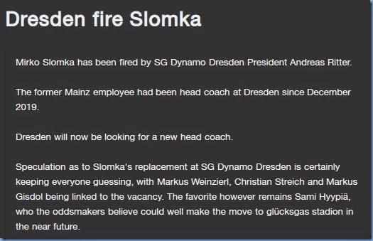 Coach sacked