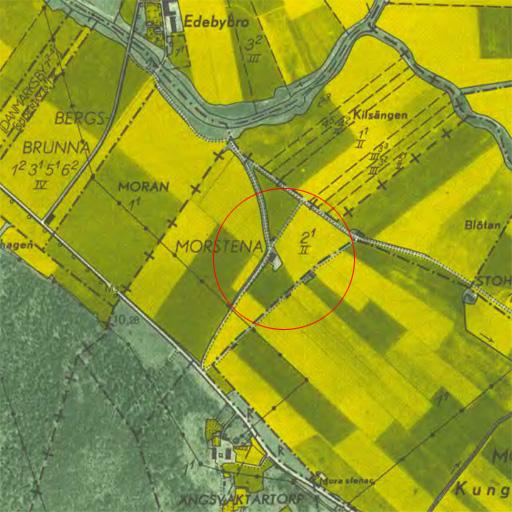 Karta från 1952. Avrättningsplatsen längs den gamla landsvägen.