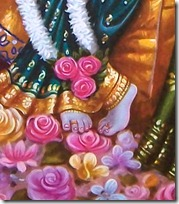 Flowers offered to Krishna's feet