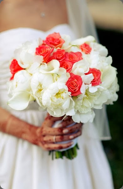 Beautiful-Blooms-Marie-Labbancz-Horticulture-Center-Hindu-Christian-Wedding-White-and-Coral Marie Labbancz photo and beautiful blooms events
