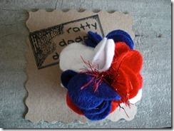 red white blue flower pin