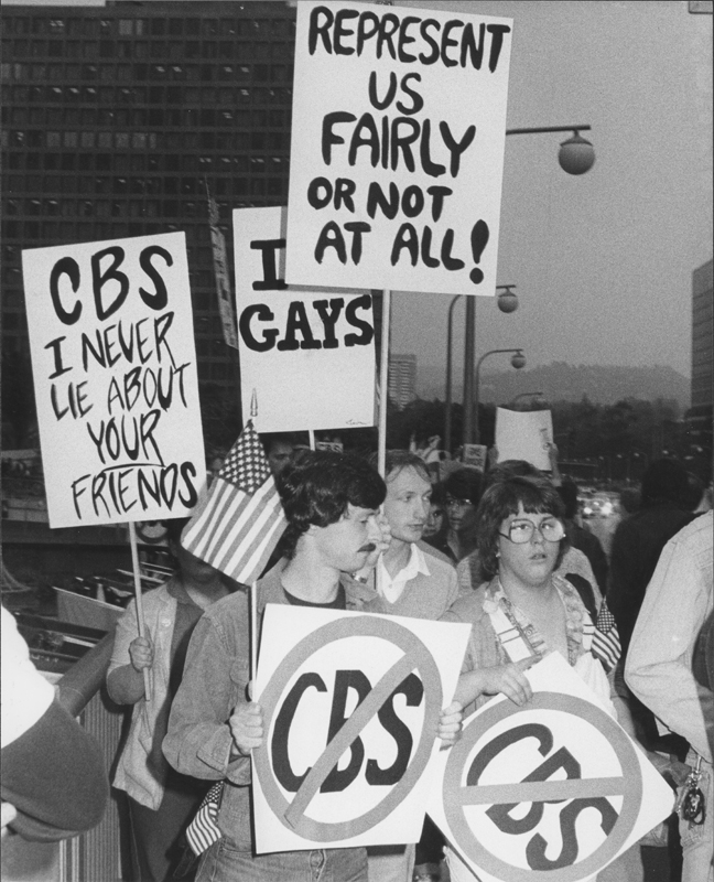 Protesters picket CBS offices over the broadcast of the news program special, Gay Power, Gay Politics.  The pickets were organized by National Operation Tune-out CBS (NOT CBS).This demostration was one of a number of protests concerning the misrepresentation of the LGBT community by the media.  May 1980.