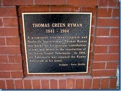 9488 Nashville, Tennessee - Discover Nashville Tour - Ryman Auditorium - Thomas Green Ryman plaque
