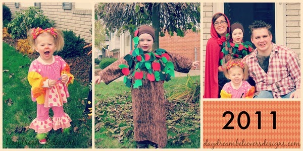 Halloween Handmade Family Costumes DIY Boutique Girly Clown Apple Tree Little Red Riding Hood and Big Bad Wolf Couple Costume diy