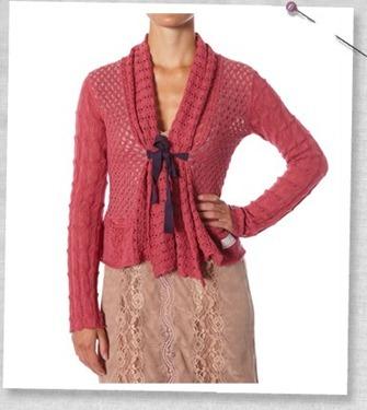 #654 Canna cardigan vintage rouge