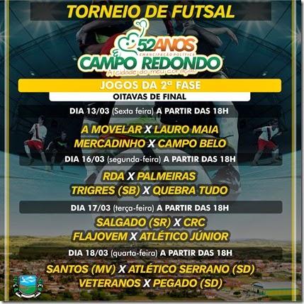 Futsal - 53 anos Campo Redondo - EMANCIPAÇÃO - FLAJOVEM - A MOVELAR - LAURO MAIA - QUEBRA TUDO - RDA - CRC - MERCADINHO - CAMPO BELO - SALGADO - TRIGES - SERRANO - PEGADO - VETEREANOS