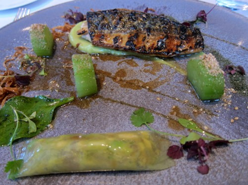 Flame Grilled Mackerel with Avocado, Celtic Mustard and Shiso