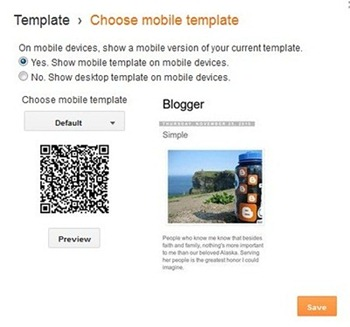 blogger mobile settings