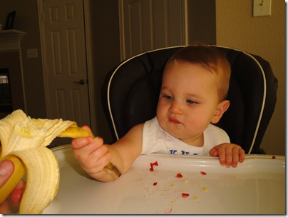 6.  Peeling the banana is fun