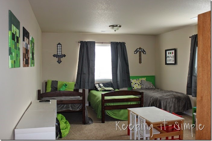 Kids Bedroom Minecraft keeping it simple: minecraft boy's room décor idea: large wood