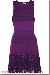 Roberto Cavalli Ruffeld wool dress