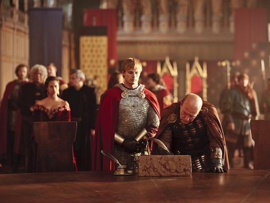 Bradley James is King Arthur and The Sarrum by John Shrapnel
