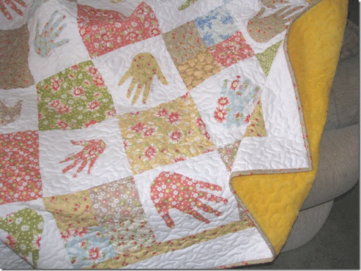 She taught me to love it grandma s hand print quilt
