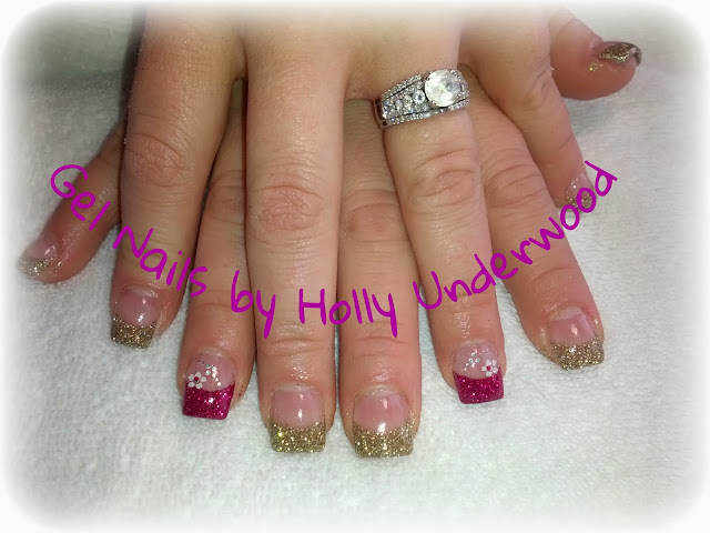 Gold and pink Gel Nails in Washington and st george utah