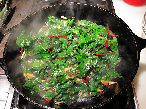 Then the Swiss chard; you could use any leafy green, or even string beans or snap peas in this step.