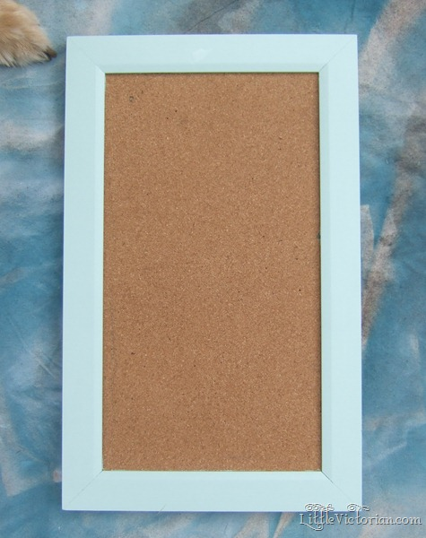 Mint green cork board before