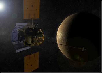 Ilustração da MESSENGER em órbita de Mercúrio (Foto: NASA)