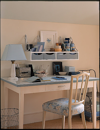 Blue creates a calm environment for this desk.  No angry letters written here.