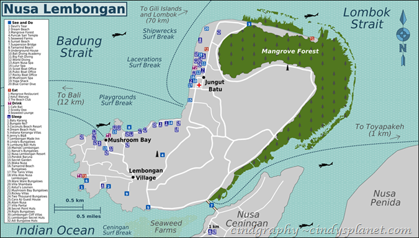 nusa lembongan map